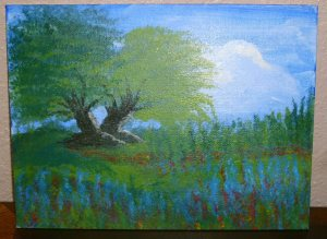 Very first art Class Painting Trees