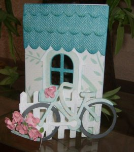 Bicylce Card using SVG Cuts Peony Cottage SVG Kit