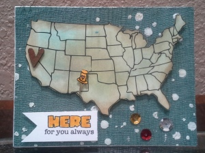 USA Map Card from Unity Stamps