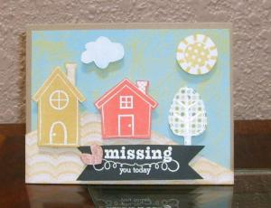 Missing You Houses Online Card Class Stretch Your Stamps