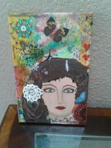 Wide Eyed Girl Mixed Media Canvas